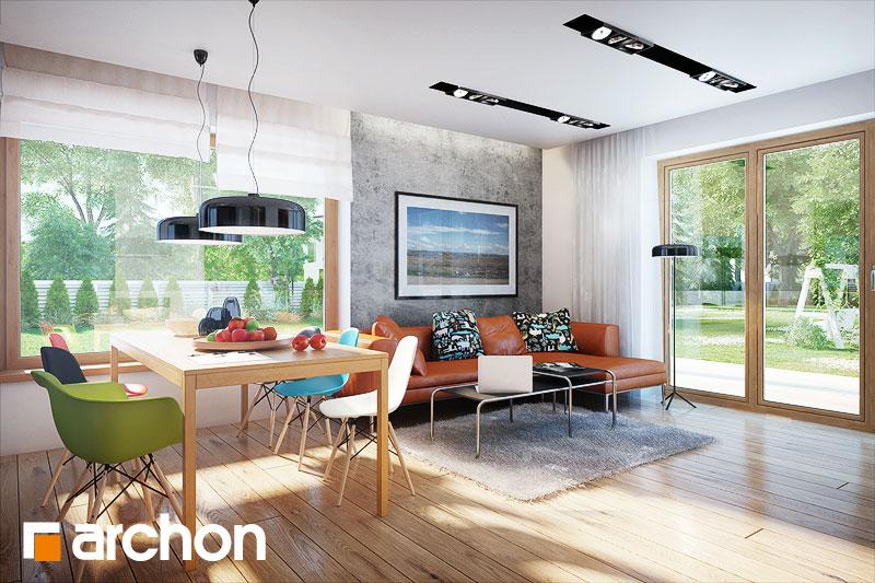 Проект дома ARCHON+ Дом в гейджее (П) дневная зона (визуализация 1 вид 3)