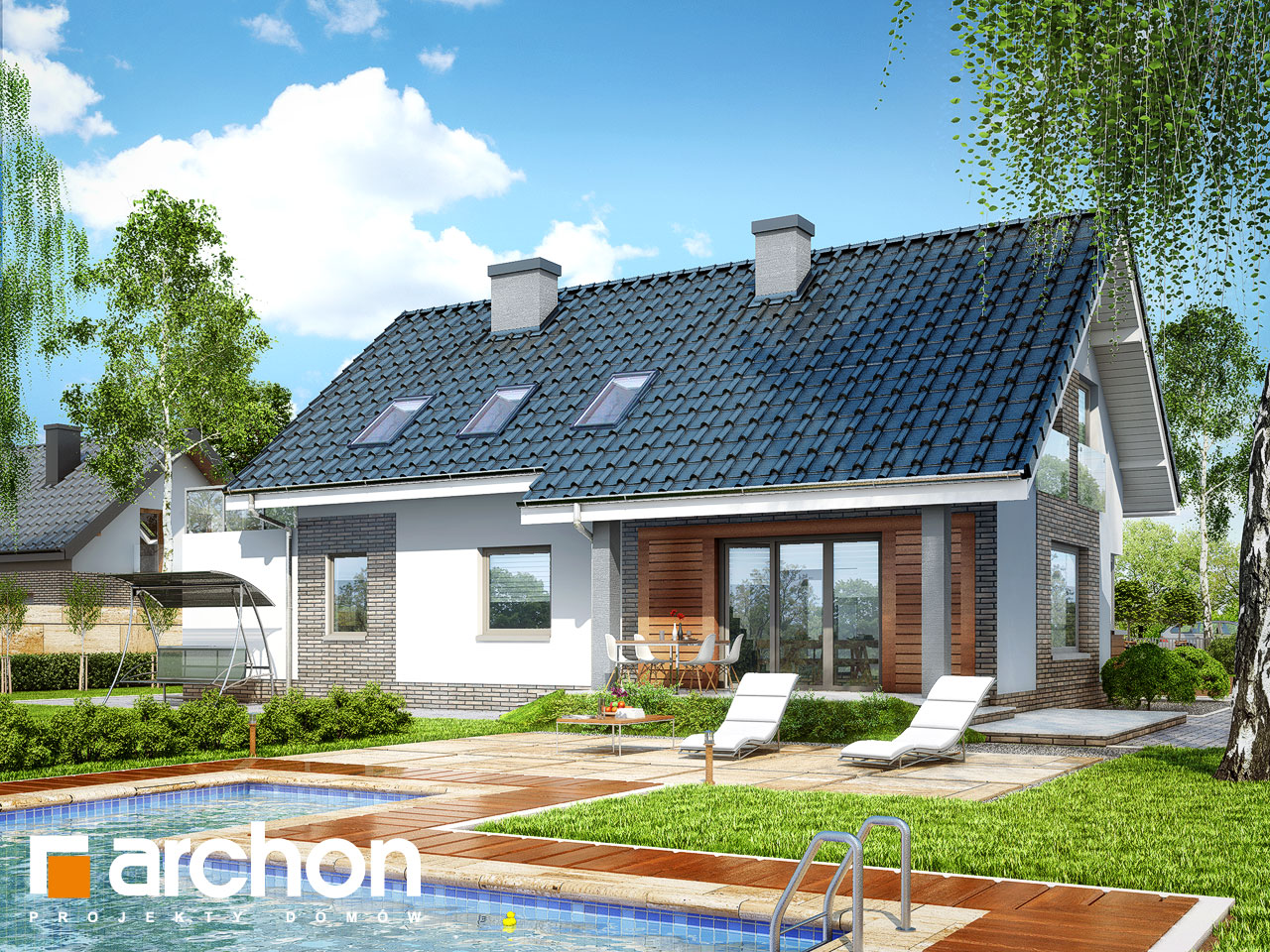 Проект будинку ARCHON+ Будинок в гейджею (Г2) Вид 2