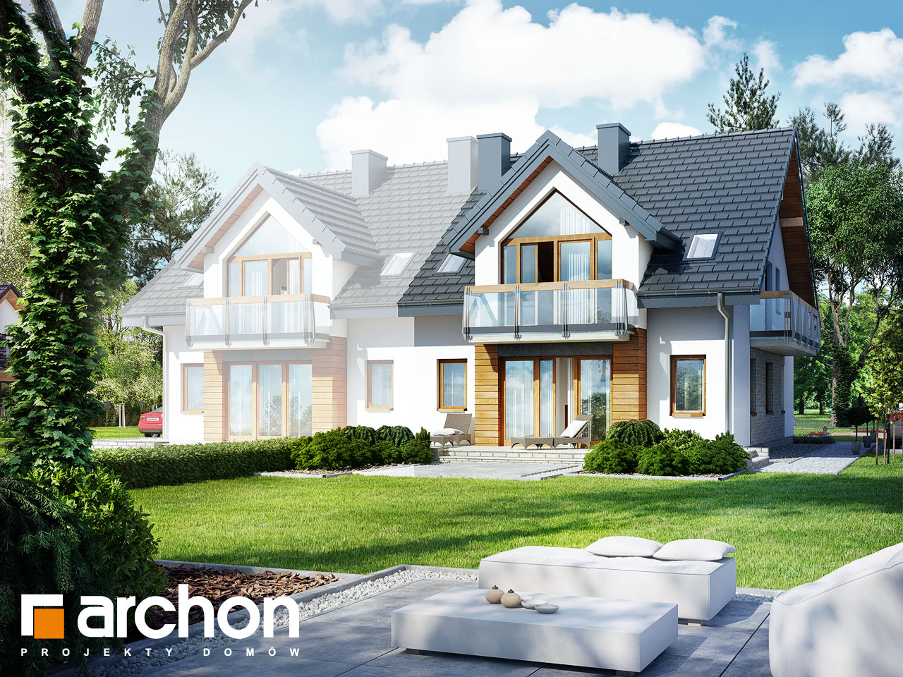 Проект будинку ARCHON+ Будинок в малині (A) Вид 2