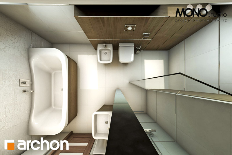 Проект будинку ARCHON+ Будинок в журавках 2 візуалізація ванни (візуалізація 1 від 5)