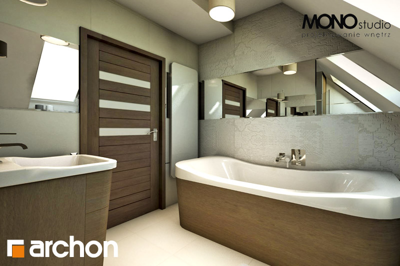 Проект дома ARCHON+ Дом в журавках 2 визуализация ванной (визуализация 1 вид 4)