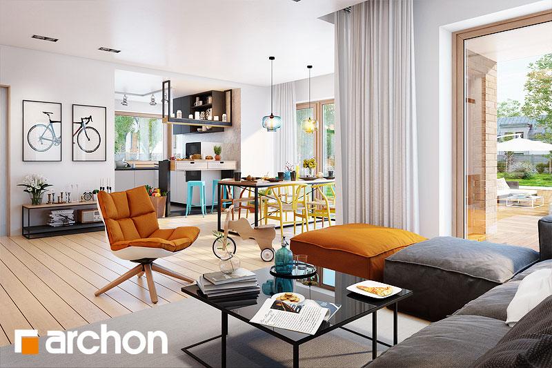 Проект дома ARCHON+ Вилла Элиза дневная зона (визуализация 1 вид 2)