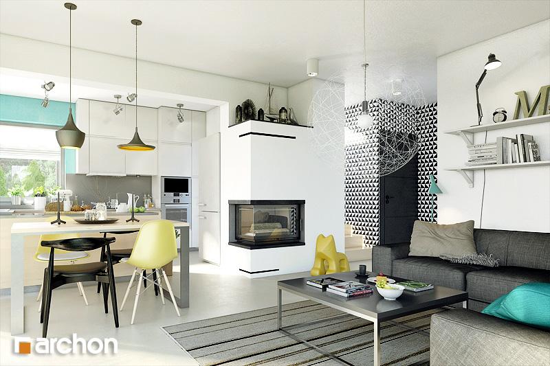 Проект дома ARCHON+ Дом в журавках 3 дневная зона (визуализация 1 вид 2)