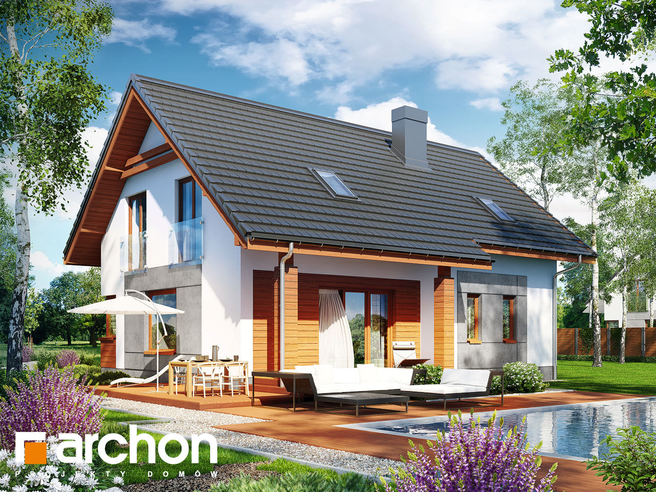 Проект будинку ARCHON+ Будинок в яблонках 2