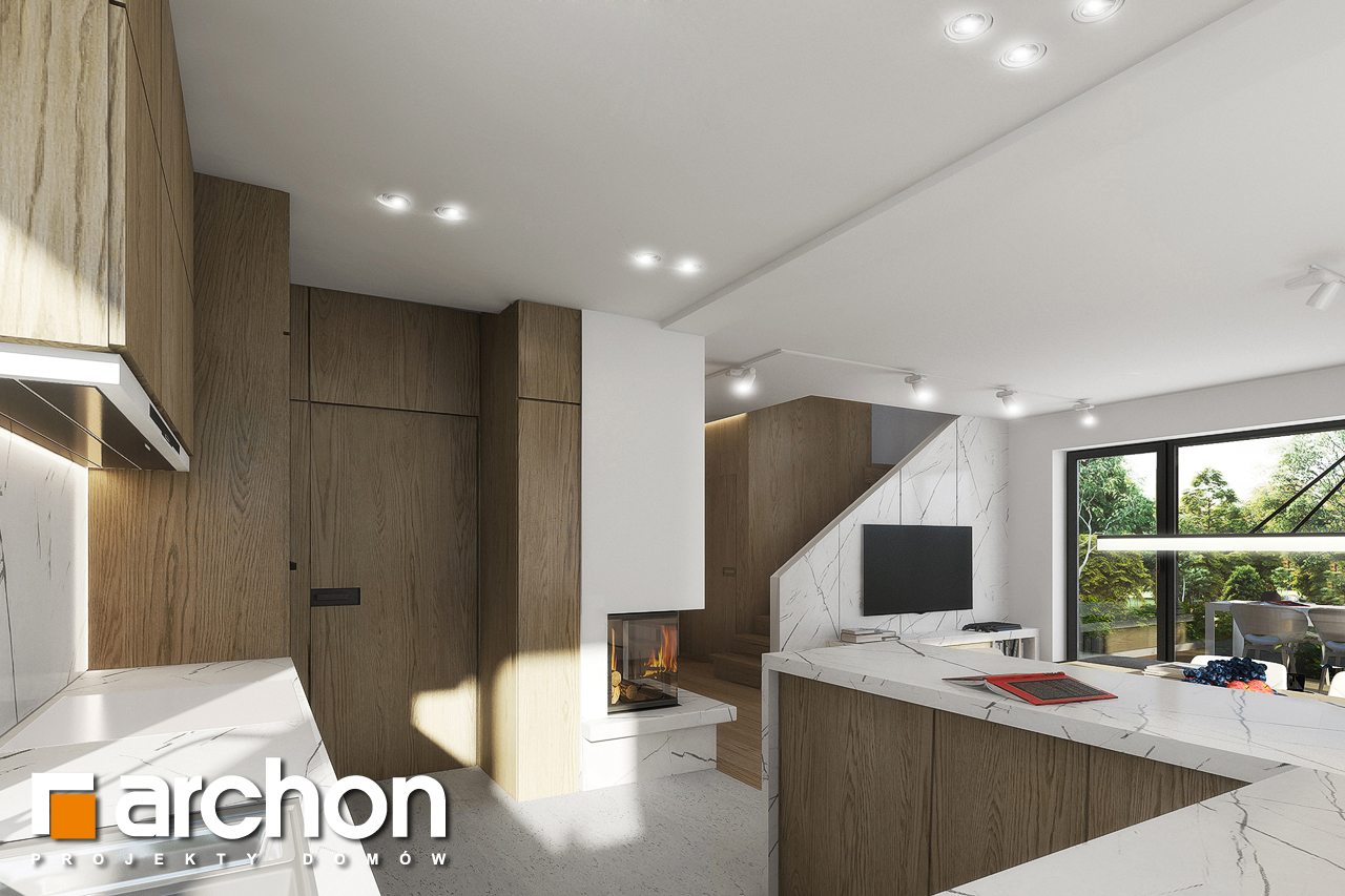 Проект будинку ARCHON+ Будинок в яблонках 2 візуалізація кухні 1 від 2