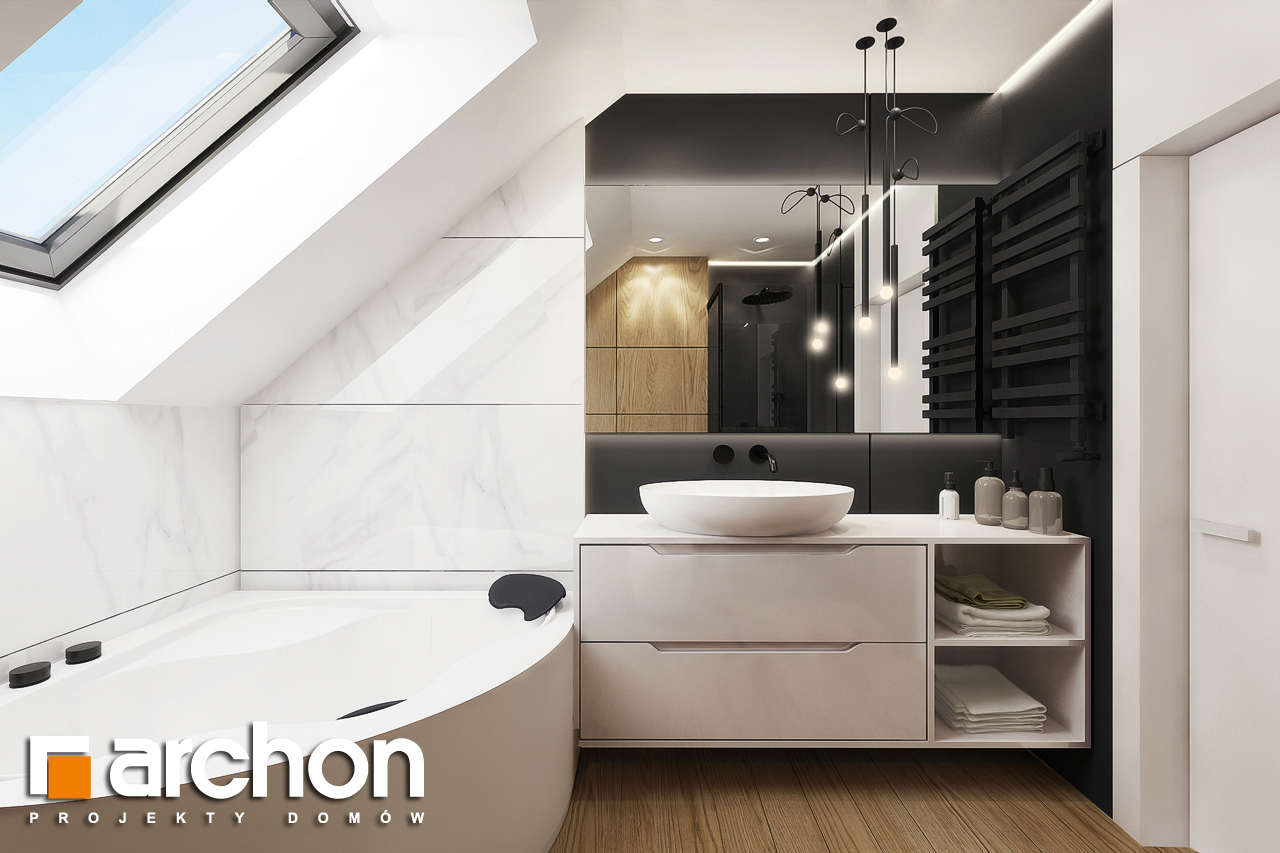 Проект будинку ARCHON+ Будинок в яблонках 2 візуалізація ванни (візуалізація 3 від 1)
