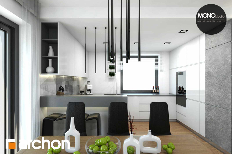Проект будинку ARCHON+ Будинок в яблонках (Т) денна зона (візуалізація 2 від 5)