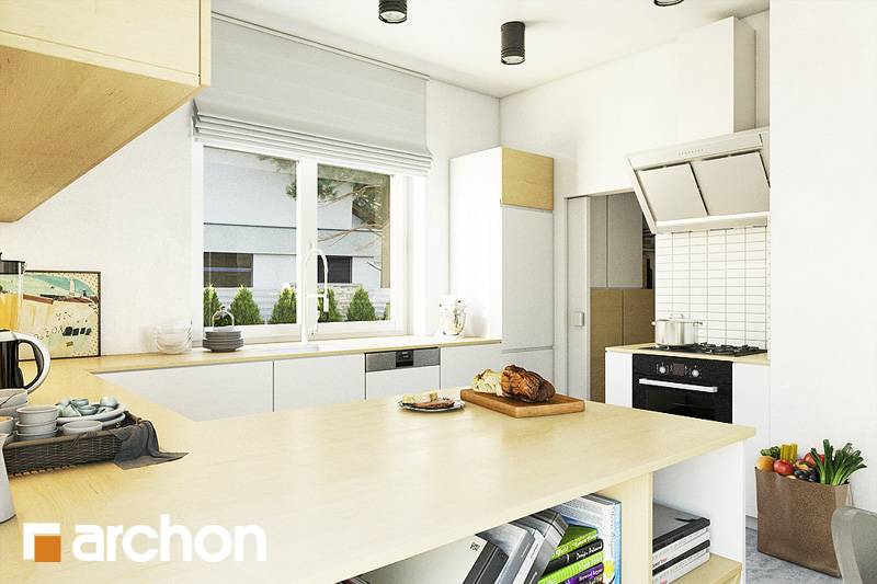 Проект будинку ARCHON+ Будинок в лещиновнику 2 візуалізація кухні 1 від 2