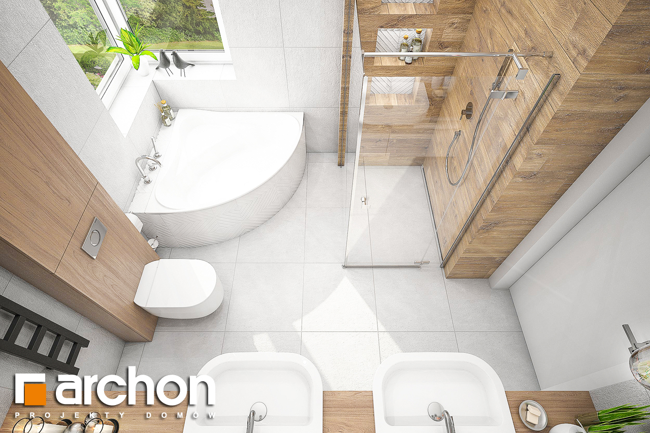 Проект будинку ARCHON+ Будинок в лещиновнику 2 візуалізація ванни (візуалізація 3 від 4)