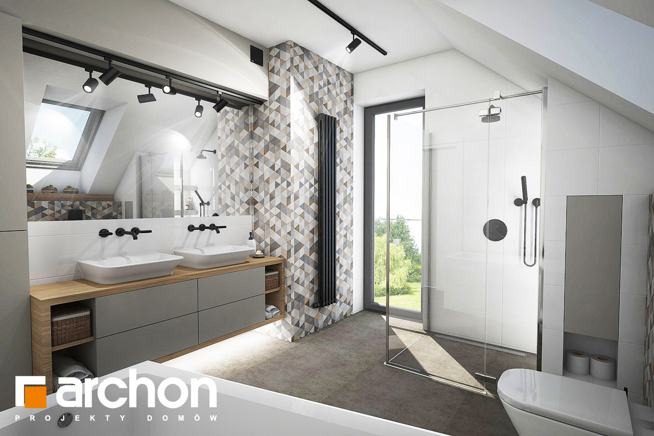 Проект будинку ARCHON+ Будинок в яблонках 4 візуалізація ванни (візуалізація 3 від 1)