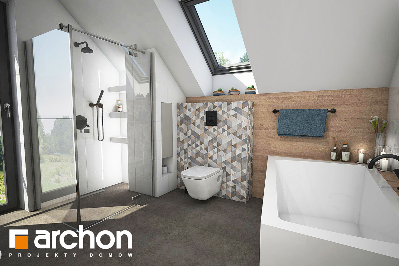 Проект будинку ARCHON+ Будинок в яблонках 4 візуалізація ванни (візуалізація 3 від 2)