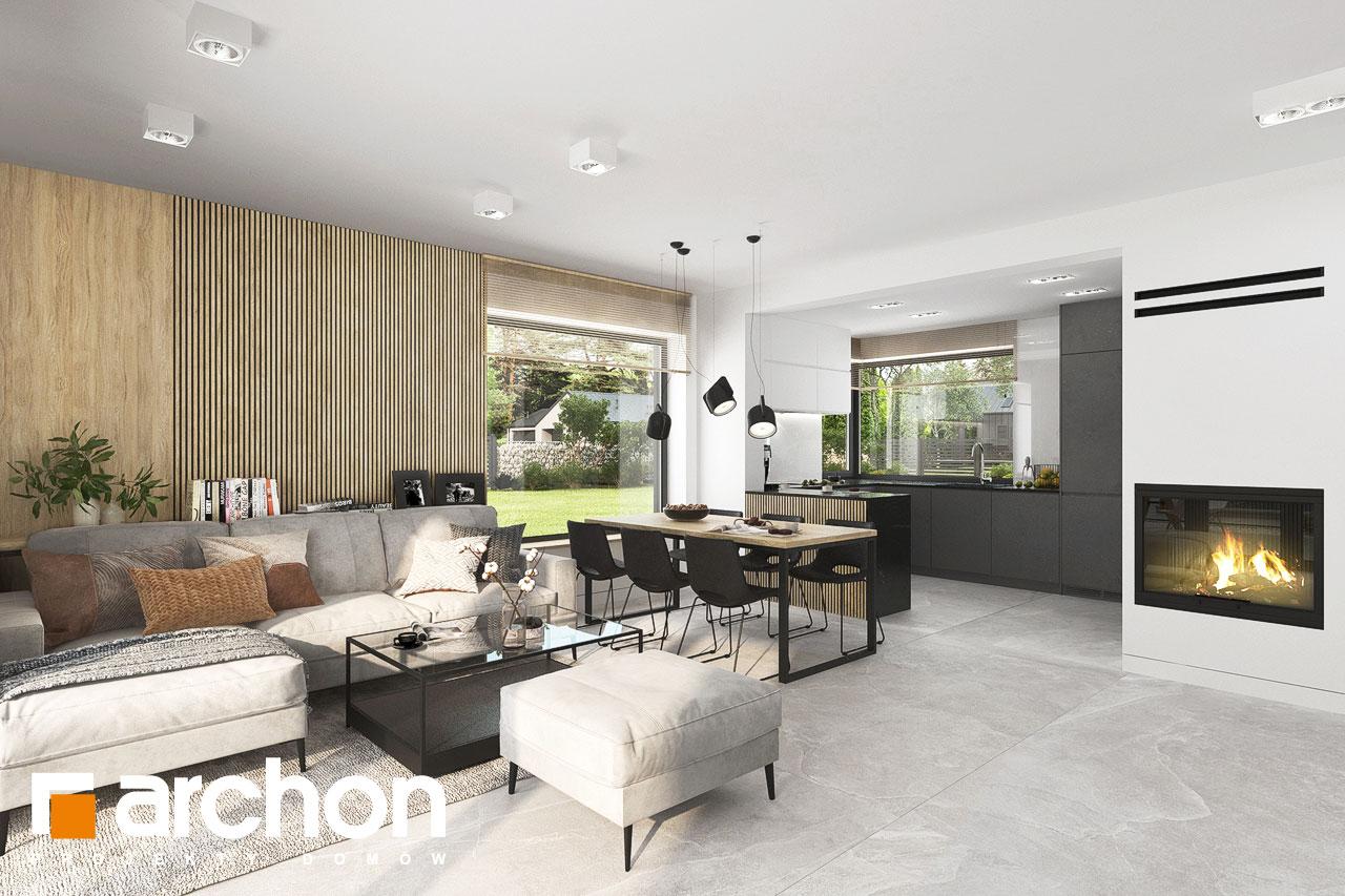 Проект дома ARCHON+ Дом в яблонках 4 дневная зона (визуализация 1 вид 2)