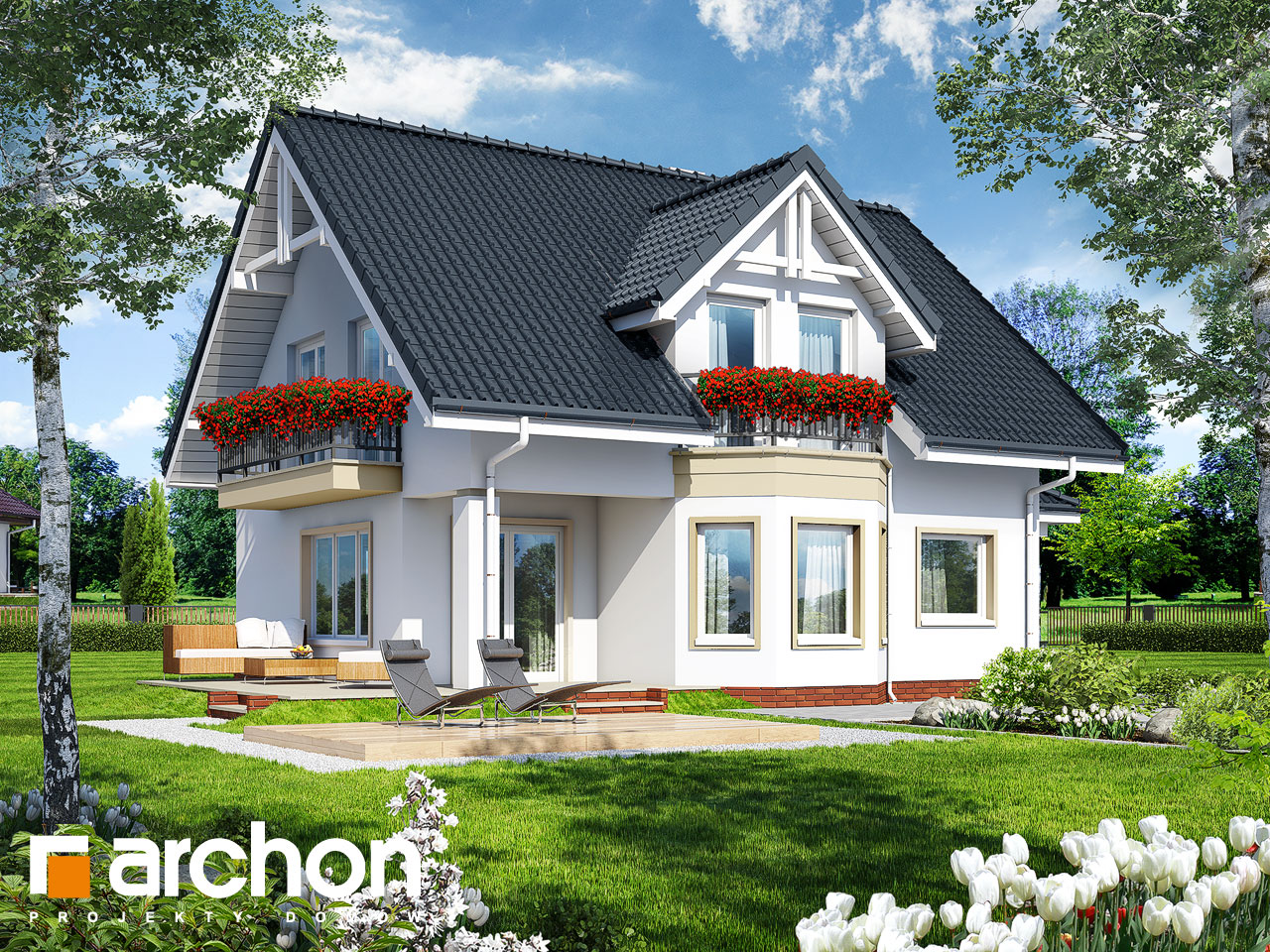 Проект будинку ARCHON+ Будинок в журавлині 3 Вид 2