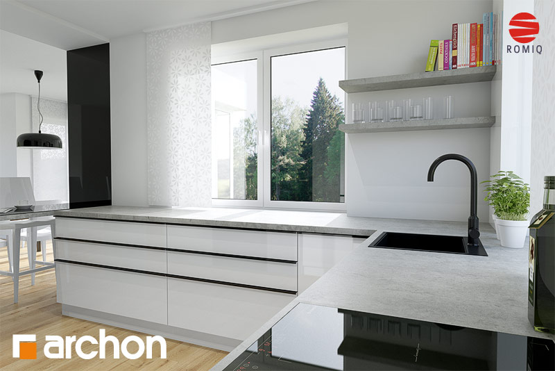 Проект будинку ARCHON+ Будинок в чорнушках (Г) аранжування кухні 1 від 3