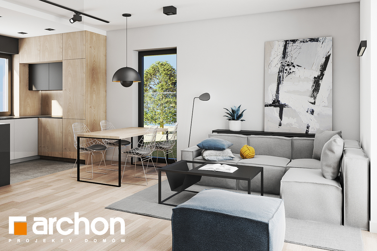 Проект будинку ARCHON+ Будинок в коручках 3 денна зона (візуалізація 1 від 2)