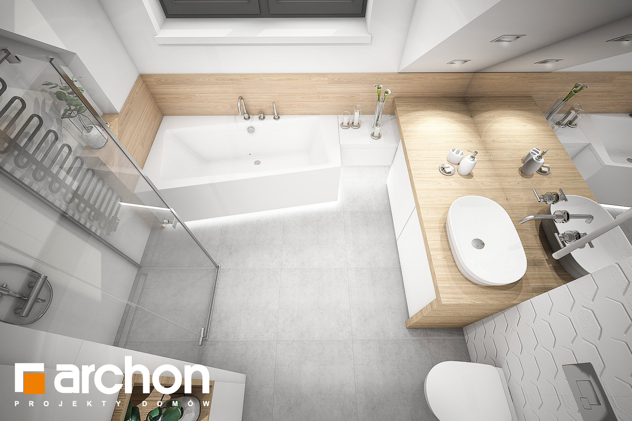Проект будинку ARCHON+ Будинок в хлорофітумі 5 візуалізація ванни (візуалізація 3 від 4)