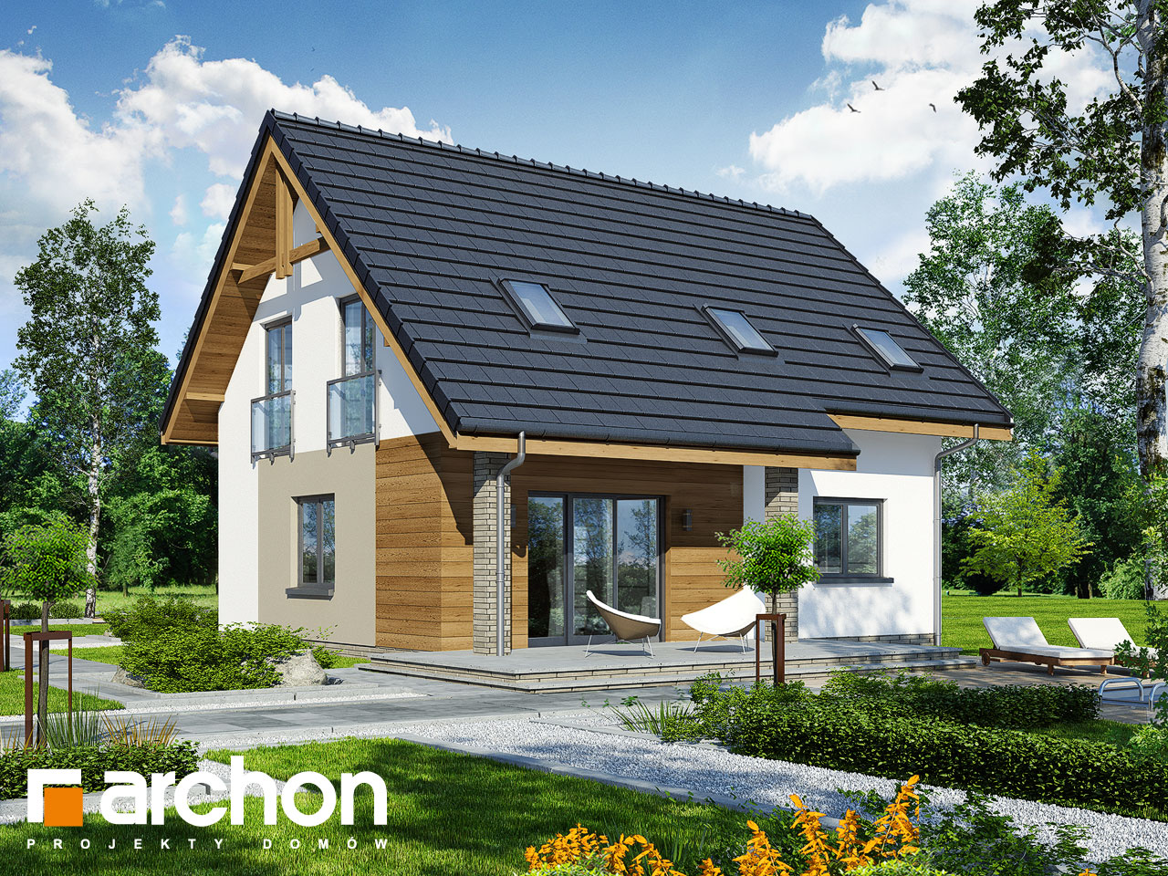 Проект дома ARCHON+ Дом в хлорофитуме 5 Вид 2
