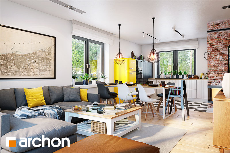 Проект дома ARCHON+ Дом в хлорофитуме 5 дневная зона (визуализация 1 вид 1)