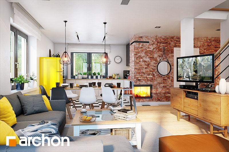 Проект дома ARCHON+ Дом в хлорофитуме 5 дневная зона (визуализация 1 вид 2)