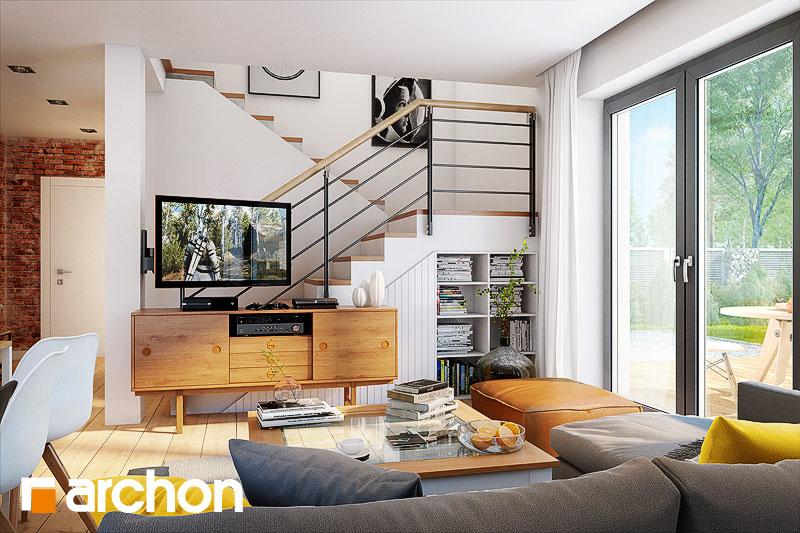 Проект дома ARCHON+ Дом в хлорофитуме 5 дневная зона (визуализация 1 вид 3)