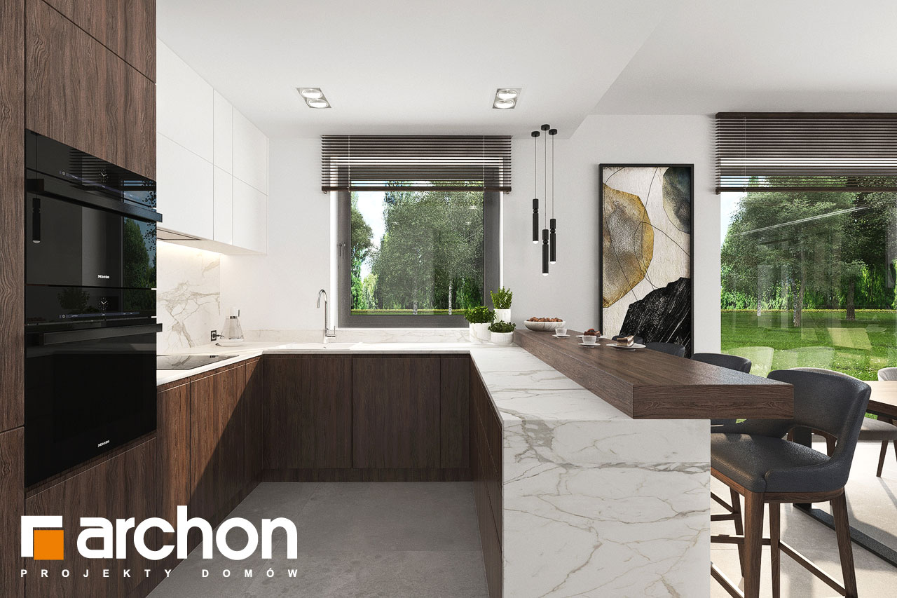 Проект будинку ARCHON+ Вілла Юлія 16 візуалізація кухні 1 від 3