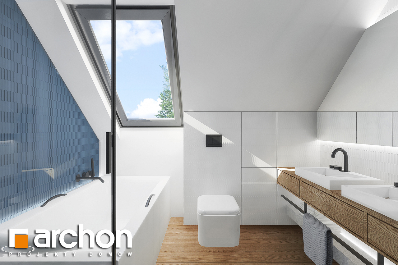 Проект будинку ARCHON+ Будинок в брусниці 5 візуалізація ванни (візуалізація 3 від 3)