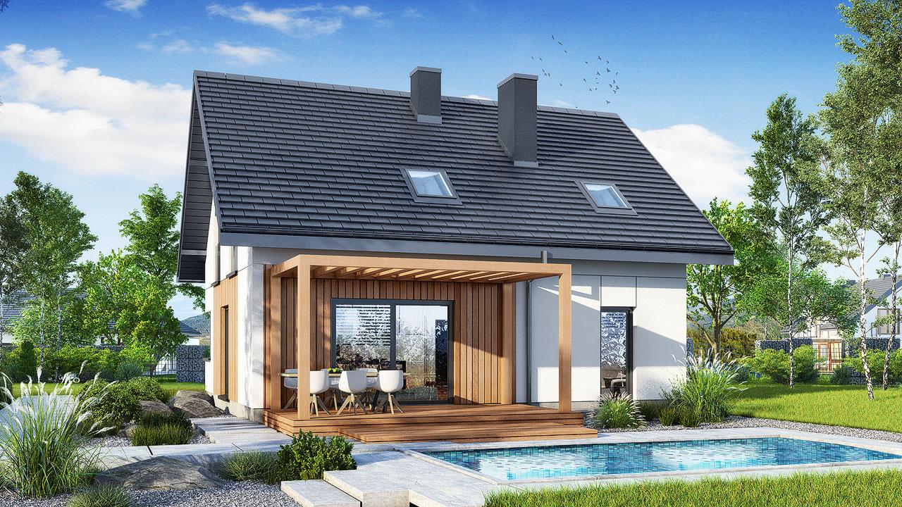 Проект будинку ARCHON+ Будинок в брусниці 5 Вид 2