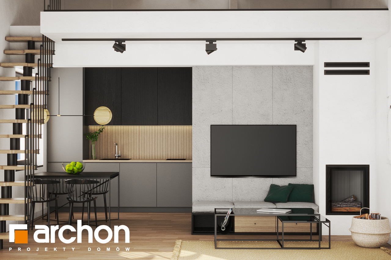 Проект будинку ARCHON+ Літній будинок в крокусах 4 (А) денна зона (візуалізація 1 від 2)