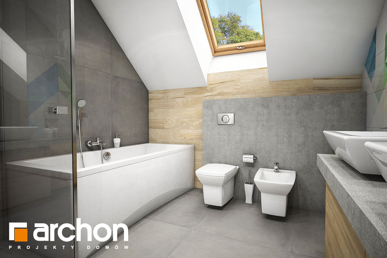 Проект будинку ARCHON+ Будинок в журавках 5 візуалізація ванни (візуалізація 3 від 3)