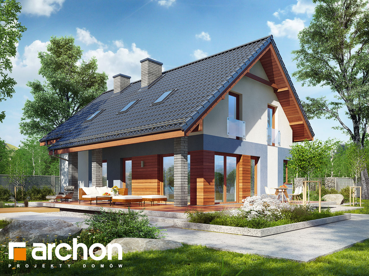 Проект дома ARCHON+ Дом в журавках 5 Вид 2