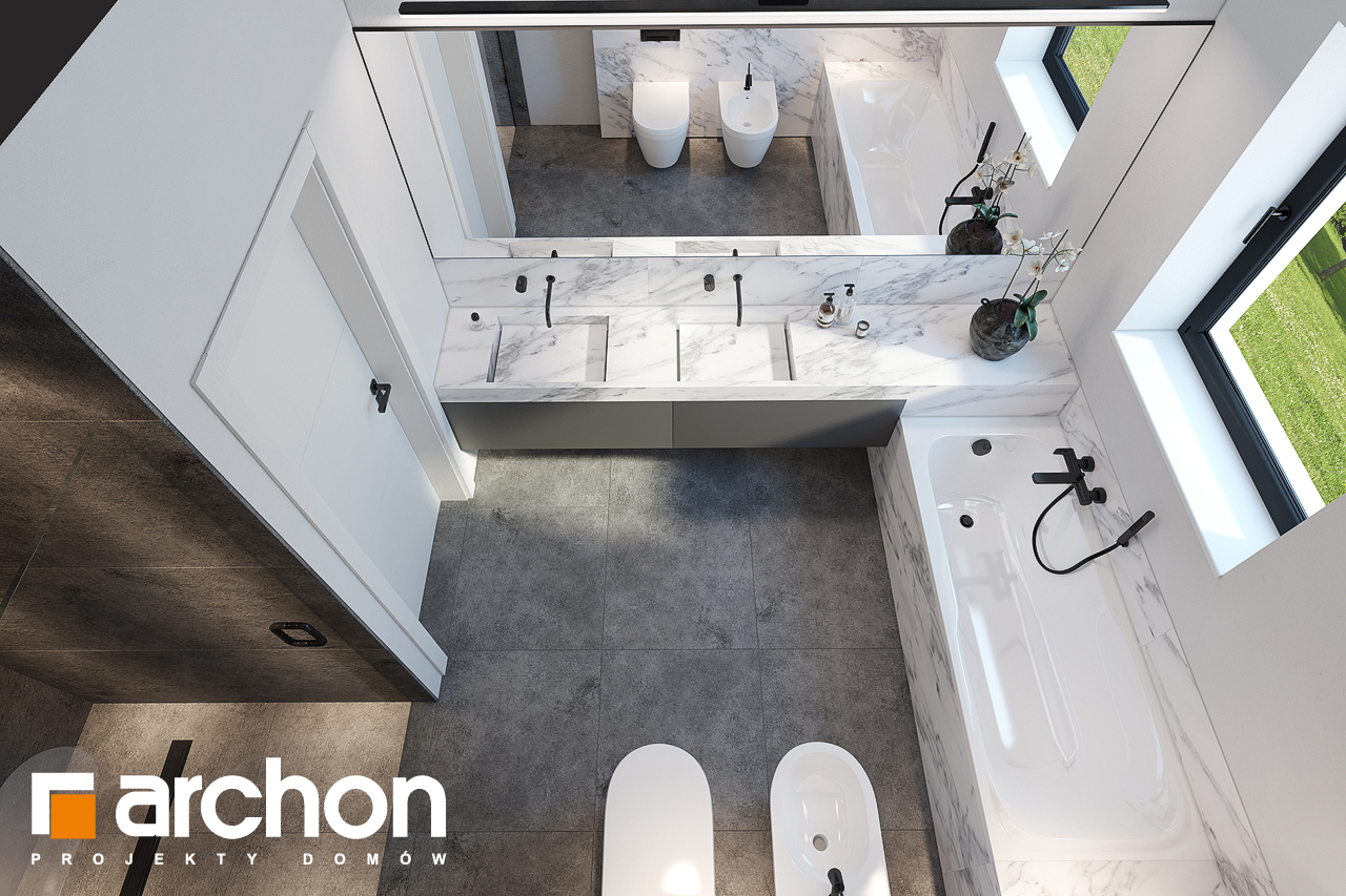Проект будинку ARCHON+ Будинок в ренклодах 6 (Г2) візуалізація ванни (візуалізація 3 від 4)