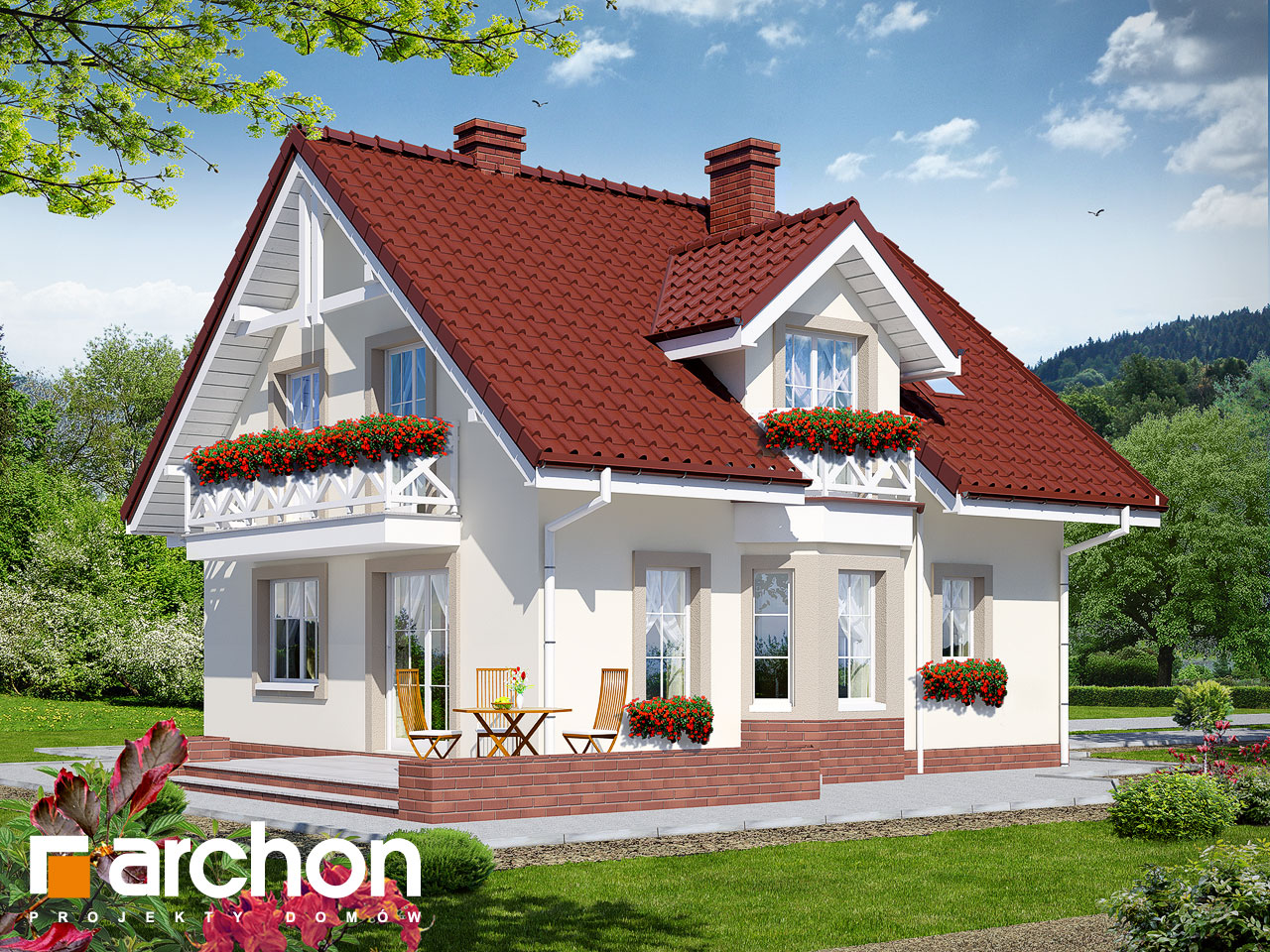 Проект будинку ARCHON+ Будинок в рододендронах 2 TERMO вер.2 Вид 2