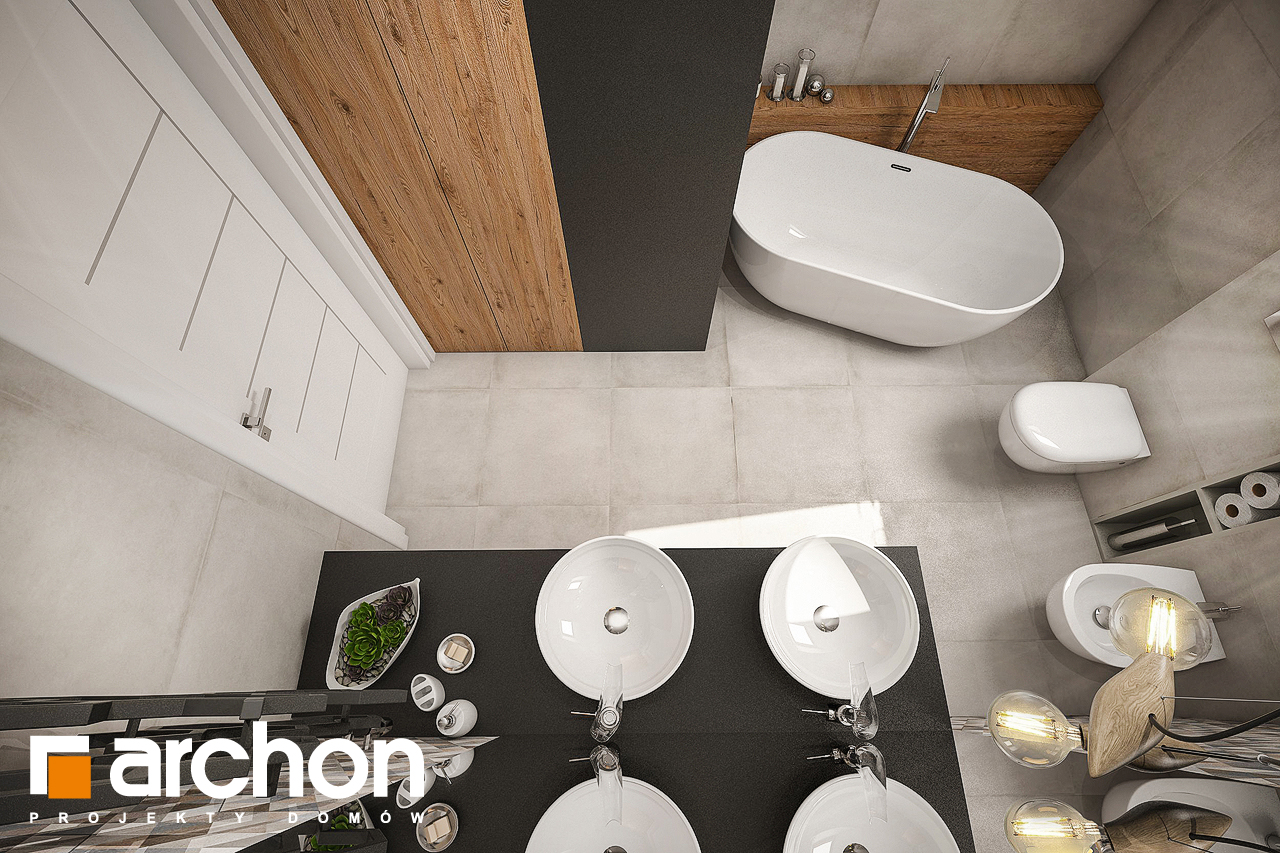 Проект будинку ARCHON+ Будинок в яблонках 6 візуалізація ванни (візуалізація 3 від 4)