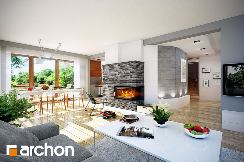 Проект будинку ARCHON+ Будинок в камеліях (Г2H) ver 2  денна зона (візуалізація 1 від 1)