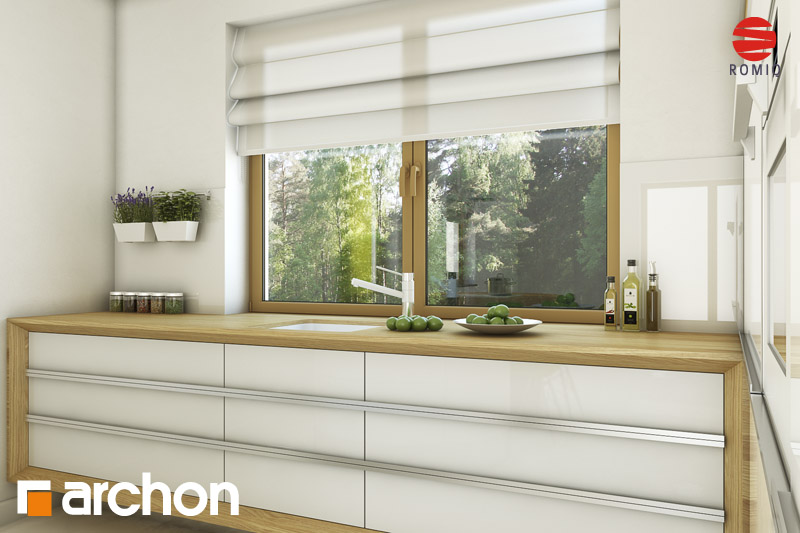 Проект будинку ARCHON+ Будинок в хлорофітумі ver.2 візуалізація кухні 2 від 3