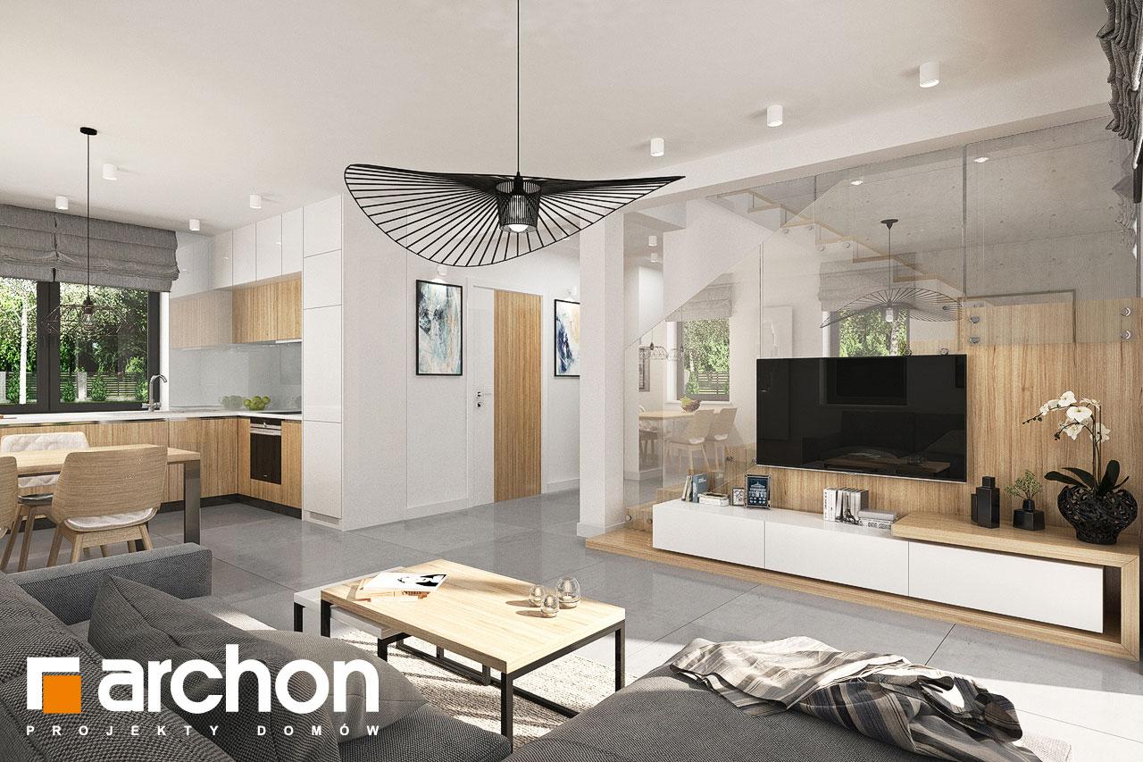 Проект будинку ARCHON+ Будинок в хлорофітумі ver.2 денна зона (візуалізація 1 від 3)