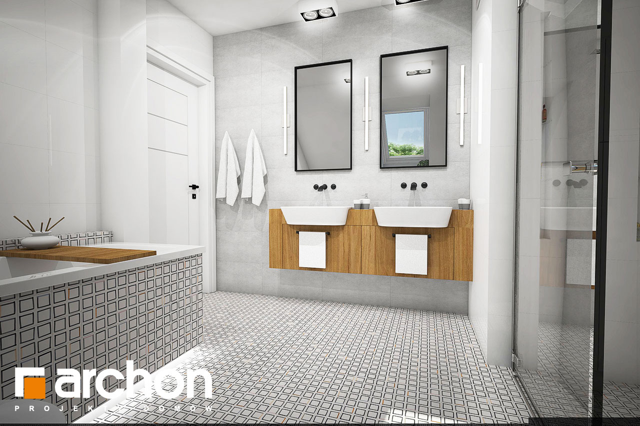 Проект будинку ARCHON+ Будинок в яблонках 5 візуалізація ванни (візуалізація 3 від 2)