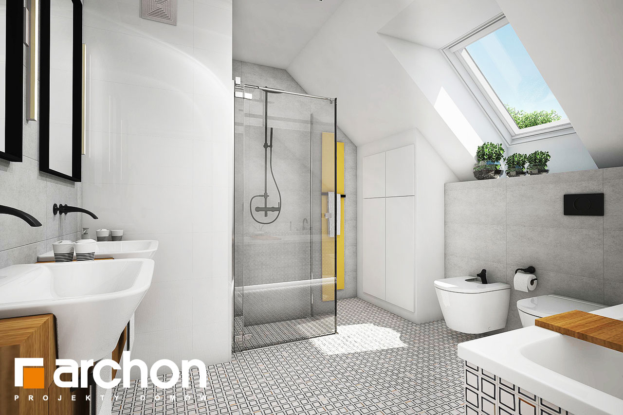 Проект будинку ARCHON+ Будинок в яблонках візуалізація ванни (візуалізація 3 від 1)