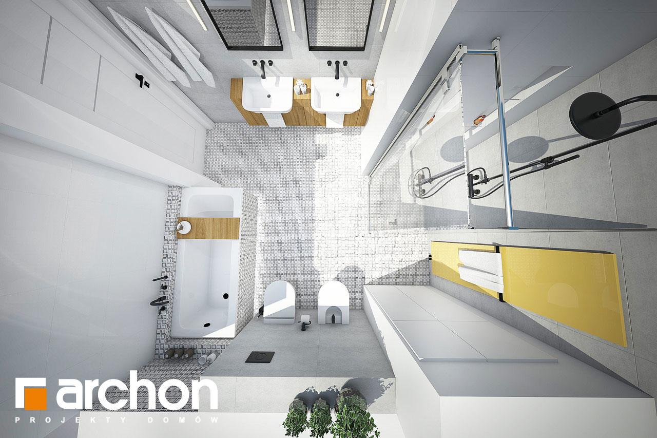 Проект будинку ARCHON+ Будинок в яблонках візуалізація ванни (візуалізація 3 від 4)
