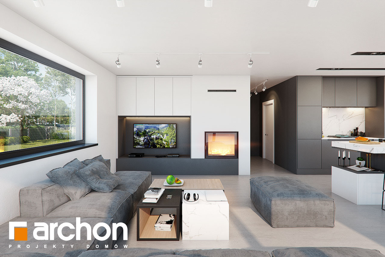 Проект дома ARCHON+ Дом в шишковиках 3 дневная зона (визуализация 1 вид 1)