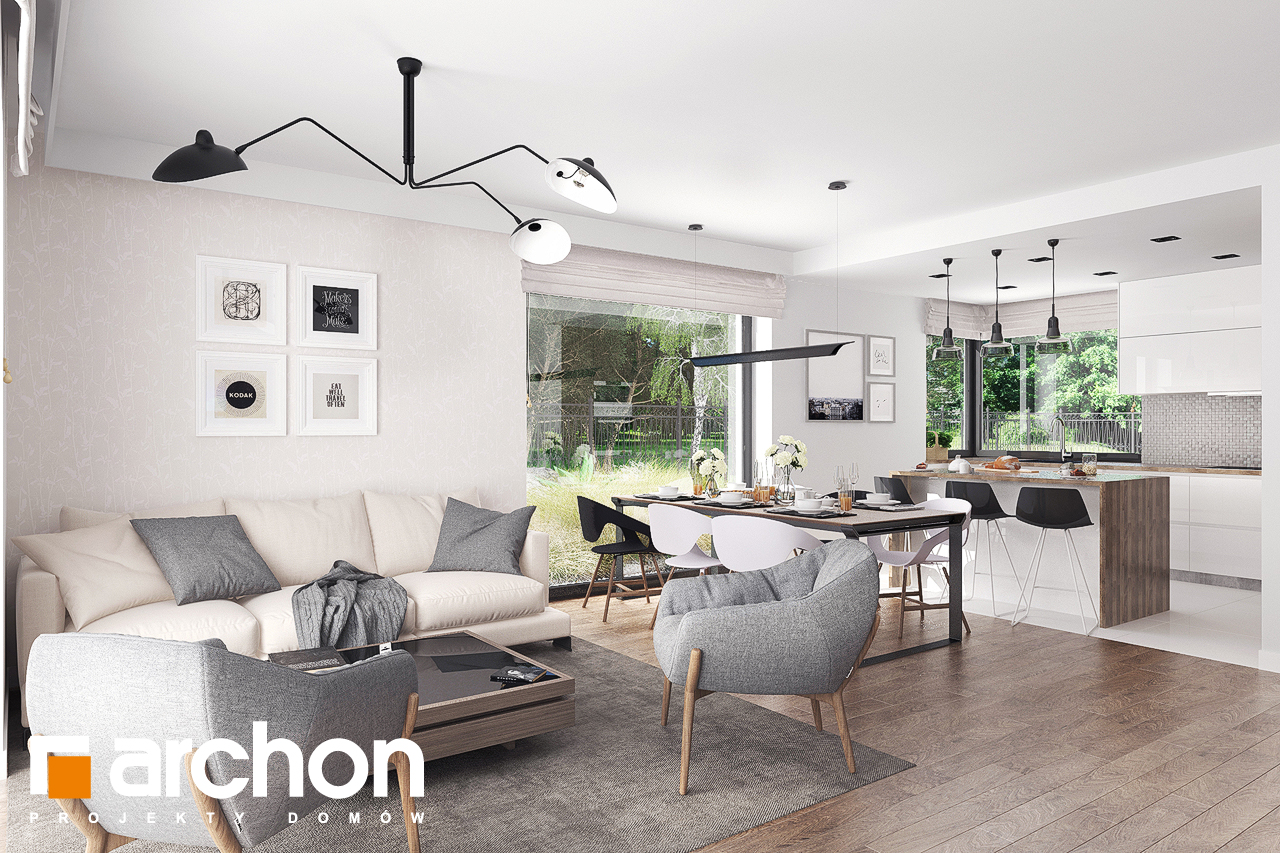 Проект будинку ARCHON+ Будинок в бірюзі (Г2) денна зона (візуалізація 1 від 2)