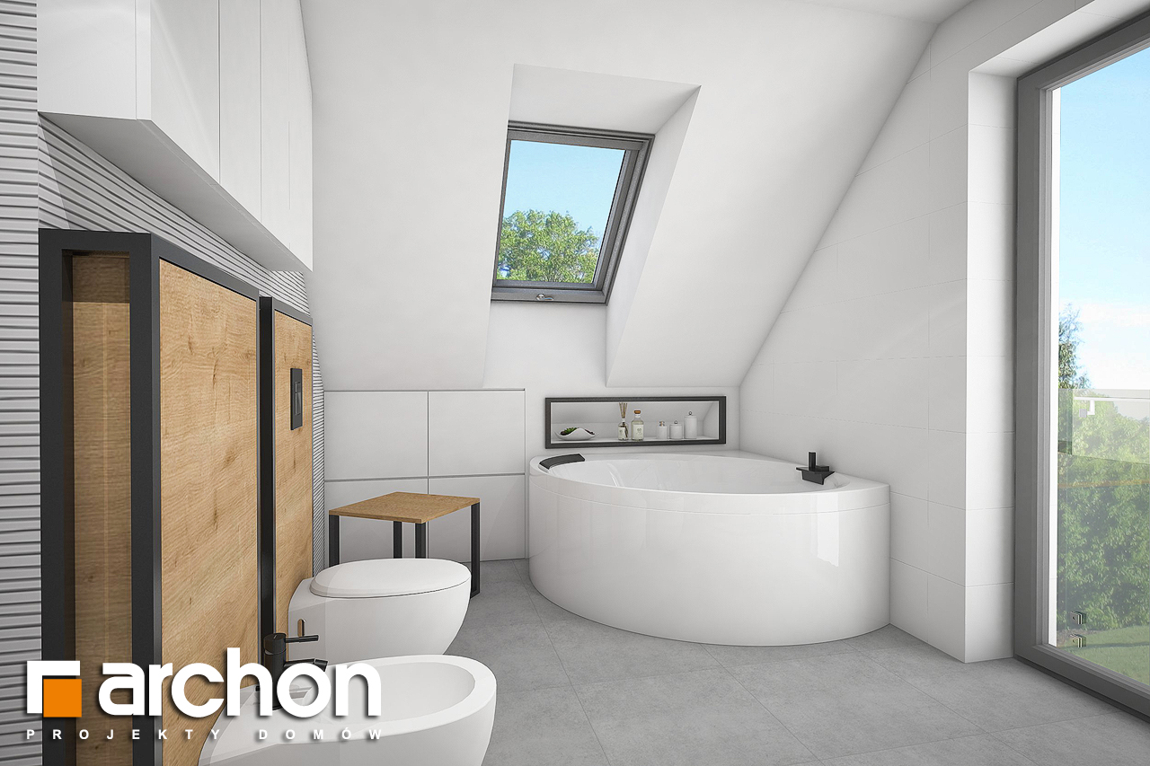 Проект будинку ARCHON+ Будинок в аморфах 2 (Г2А)  візуалізація ванни (візуалізація 3 від 1)