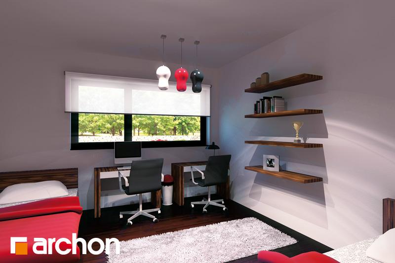 Проект будинку ARCHON+ Будинок під червоною горобиною (ГН) вер.2 нічна зона (візуалізація 1 від 2)