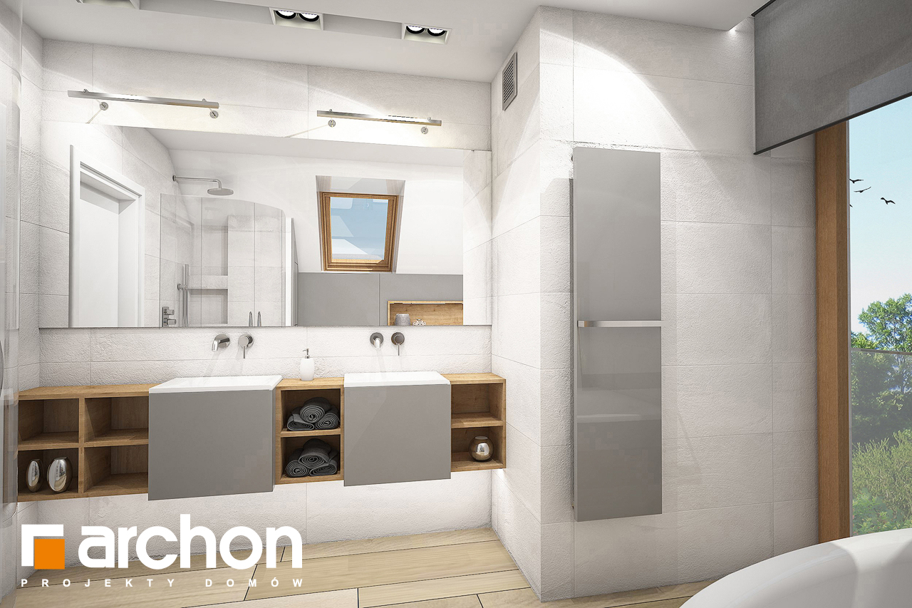 Проект будинку ARCHON+ Будинок в яблонках 4 (Г) візуалізація ванни (візуалізація 3 від 3)