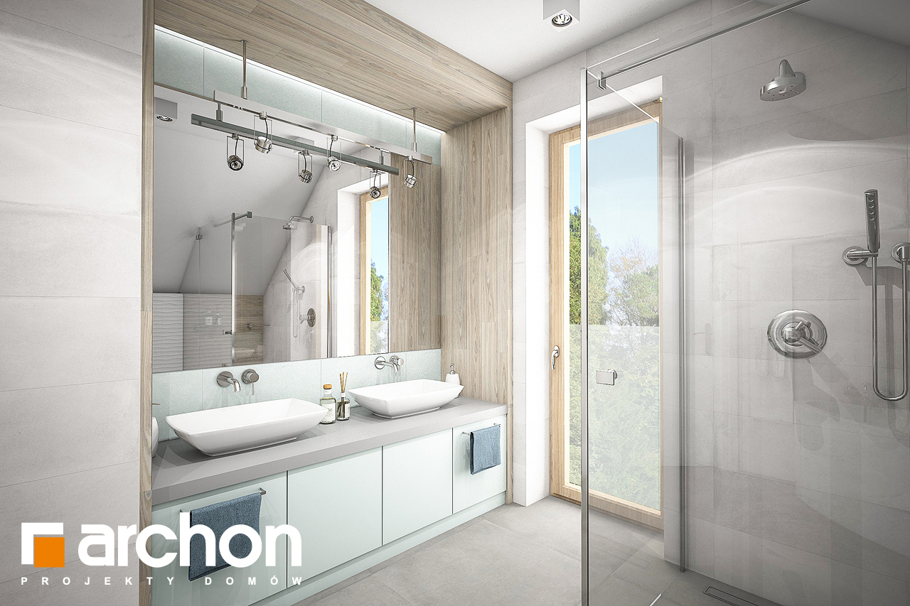 Проект будинку ARCHON+ Будинок в яблонках 9 візуалізація ванни (візуалізація 3 від 1)