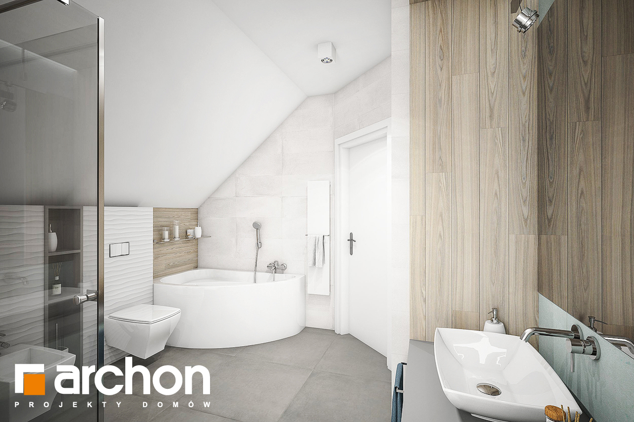 Проект будинку ARCHON+ Будинок в яблонках 9 візуалізація ванни (візуалізація 3 від 3)