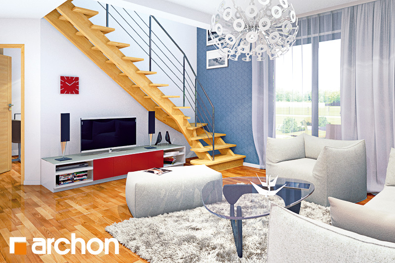 Проект будинку ARCHON+ Будинок Мініатюрка 2 (Н) вер.2 денна зона (візуалізація 2 від 2)