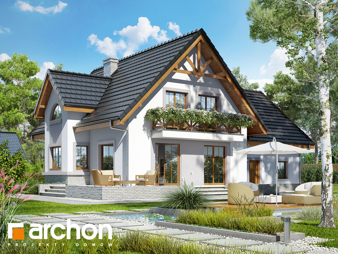 Проект будинку ARCHON+ Будинок в абрикосах 2 (Г2) Вид 2