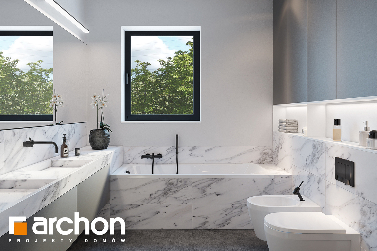 Проект будинку ARCHON+ Будинок в ренклодах 2 (Г2) візуалізація ванни (візуалізація 3 від 1)