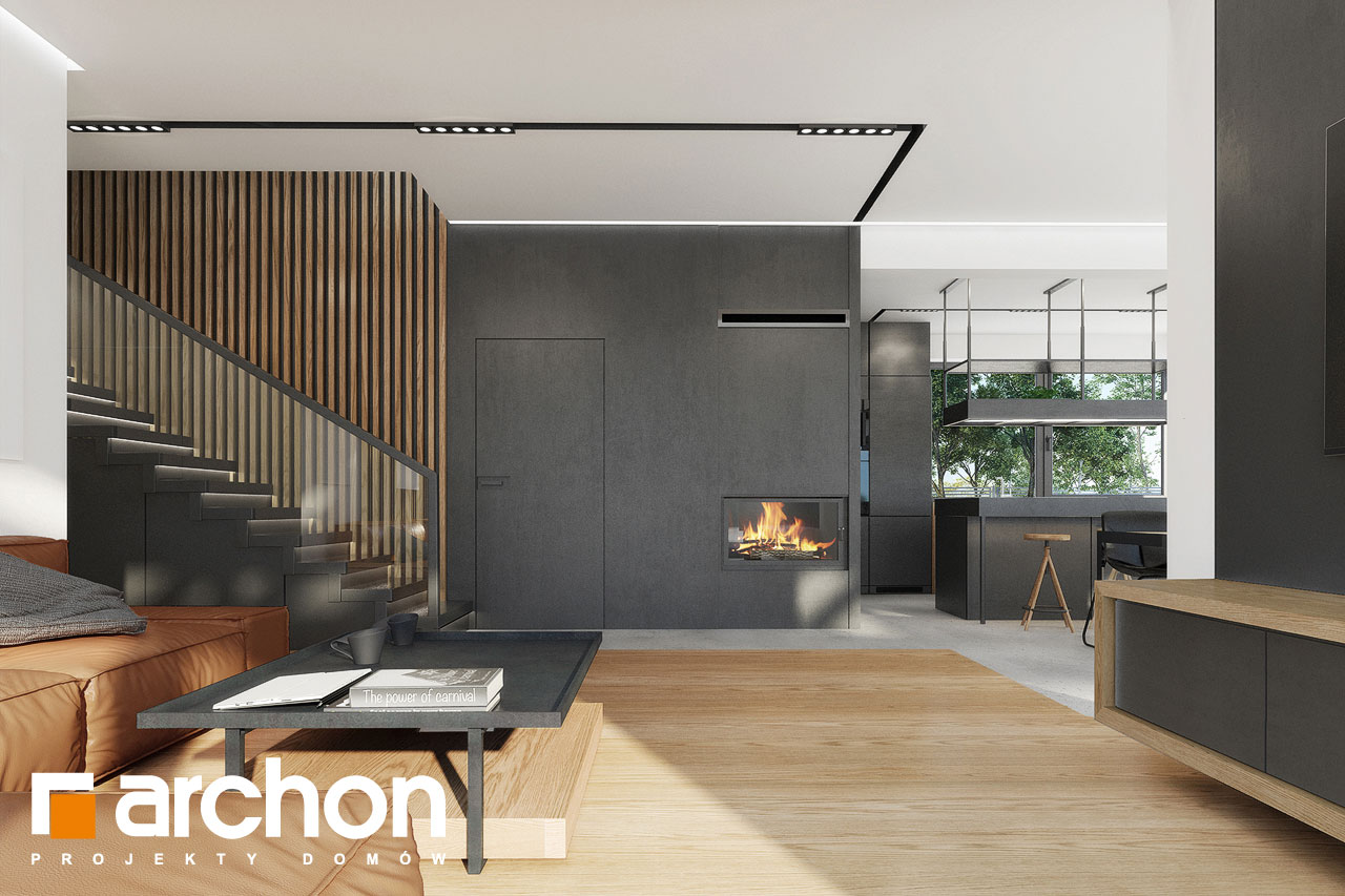 Проект будинку ARCHON+ Будинок в дабеціях 3 (Г2) денна зона (візуалізація 1 від 5)